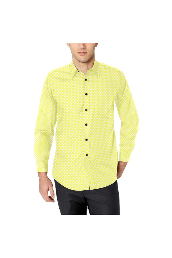 Yellow Polkadots Men's All Over Print Casual Dress Shirt