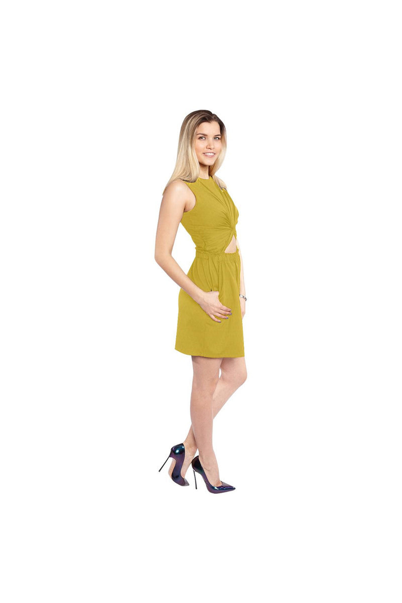 Honeycomb Sleeveless Cutout Waist Knotted Dress