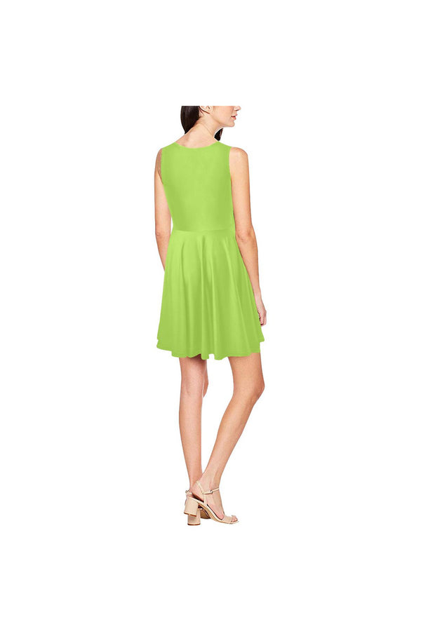 Lime Green Thea Sleeveless Skater Dress(Model D19)