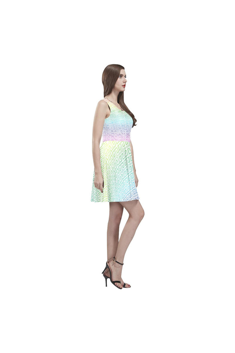 Greek Key Rainbow Thea Sleeveless Skater Dress - Objet D'Art Online Retail Store
