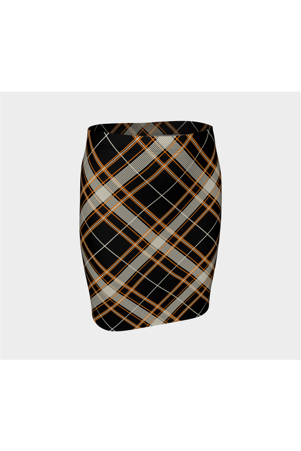 Pumpkin Bread Plaid Fitted Skirt