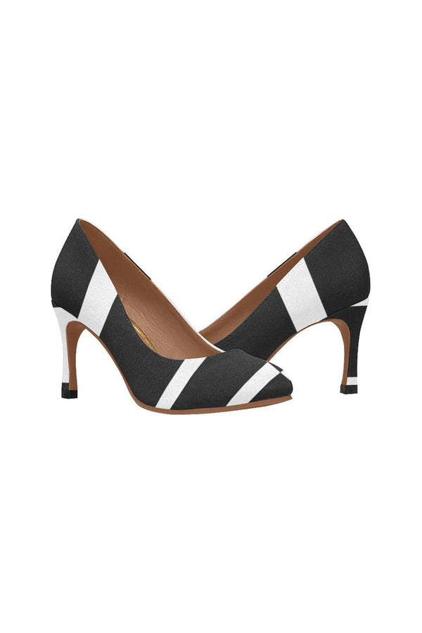 Asymmetrical Black & White  Women's High Heels (Model 048)