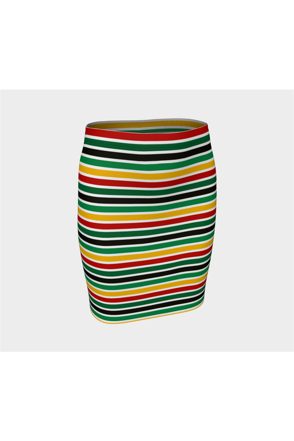 Pan African Stripe Fitted Skirt