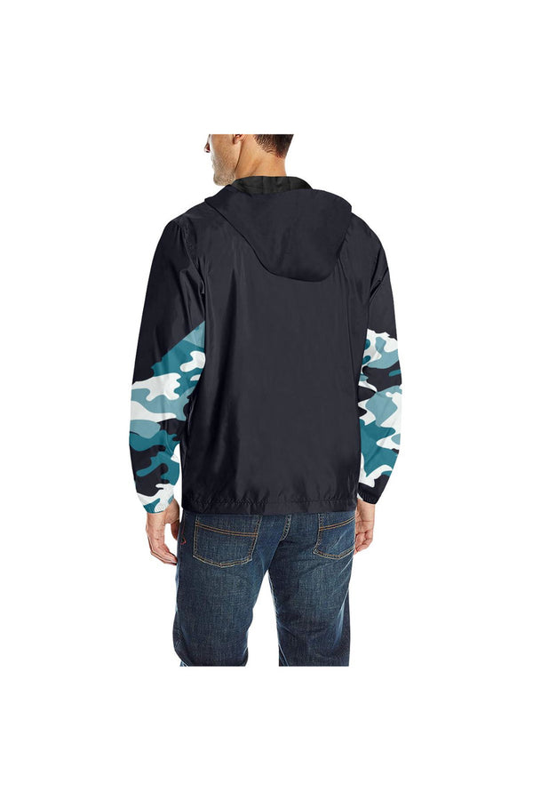 Blue Camouflage Quilted Windbreaker for Men (Model H35)
