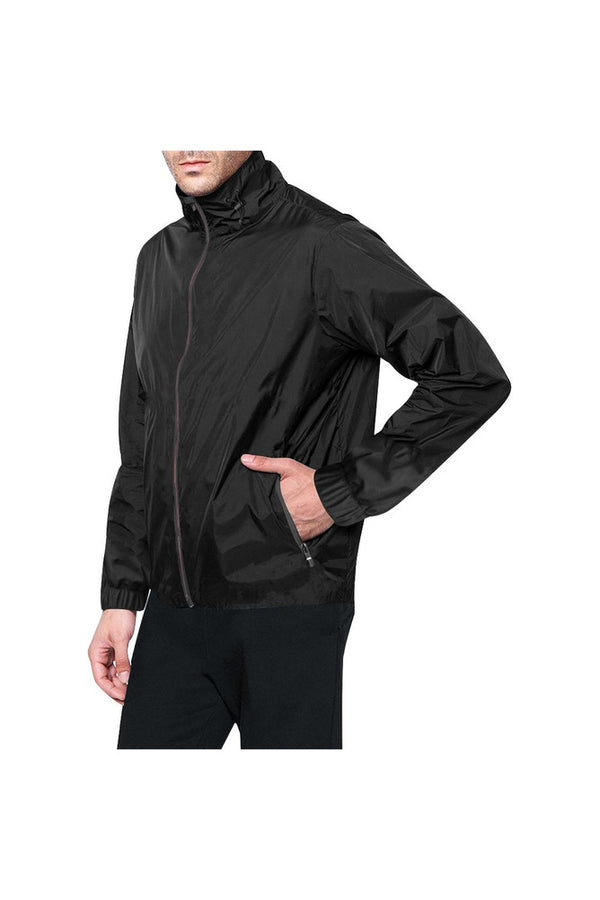 Black Solid All Over Print Windbreaker for Men (Model H23)