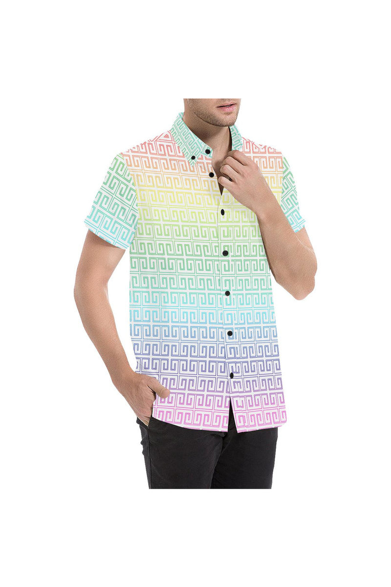 Rainbow Greek Key Men's All Over Print Short Sleeve Shirt