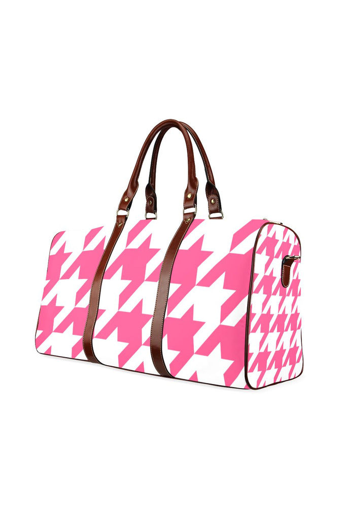 Pink Houndstooth Waterproof Travel Bag/Large