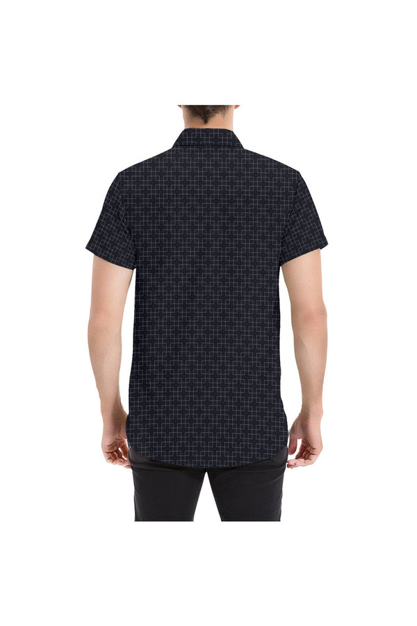 Overlapping Matrix Men's All Over Print Short Sleeve Shirt - Objet D'Art Online Retail Store
