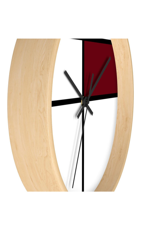 Copy of Piet Mondrian style design: MAROON Wall clock - Objet D'Art Online Retail Store