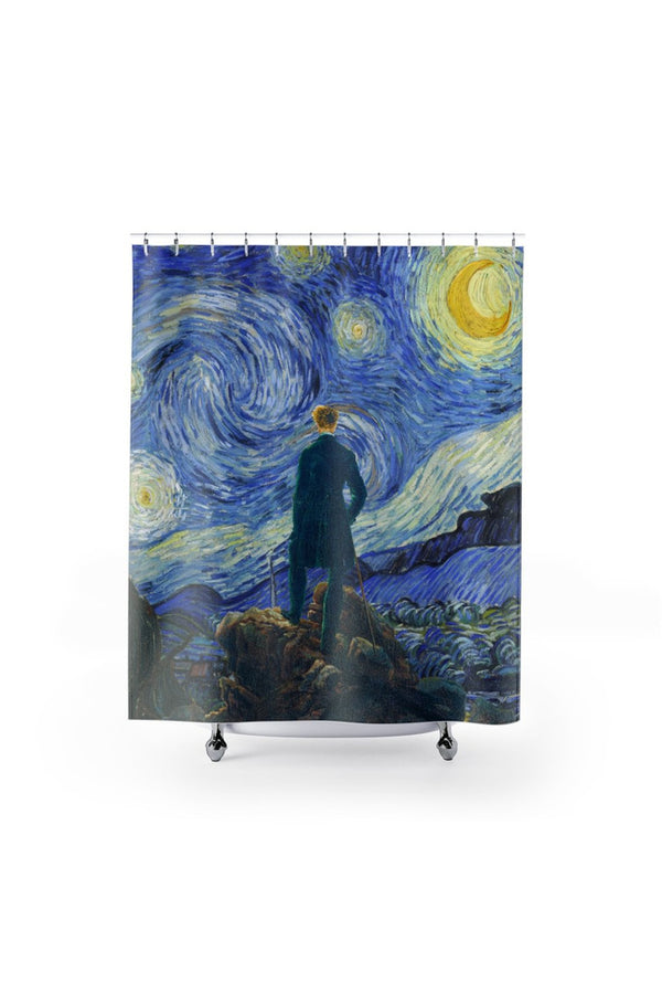 The Wanderer on a Starry Night Shower Curtains