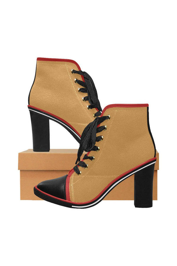 Light Brown Women's Lace Up Chunky Heel Ankle Booties