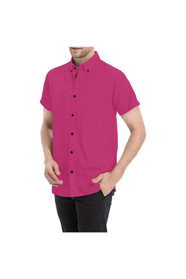 Peacock Pink Men's All Over Print Short Sleeve Shirt/Large Size (Model T53)