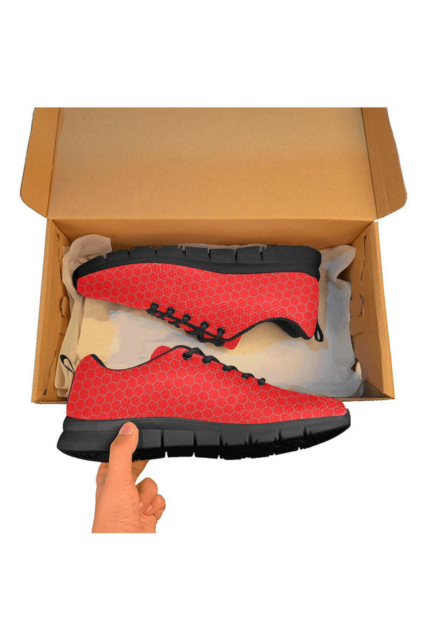 Red Honeycomb Women's Breathable Running Shoes