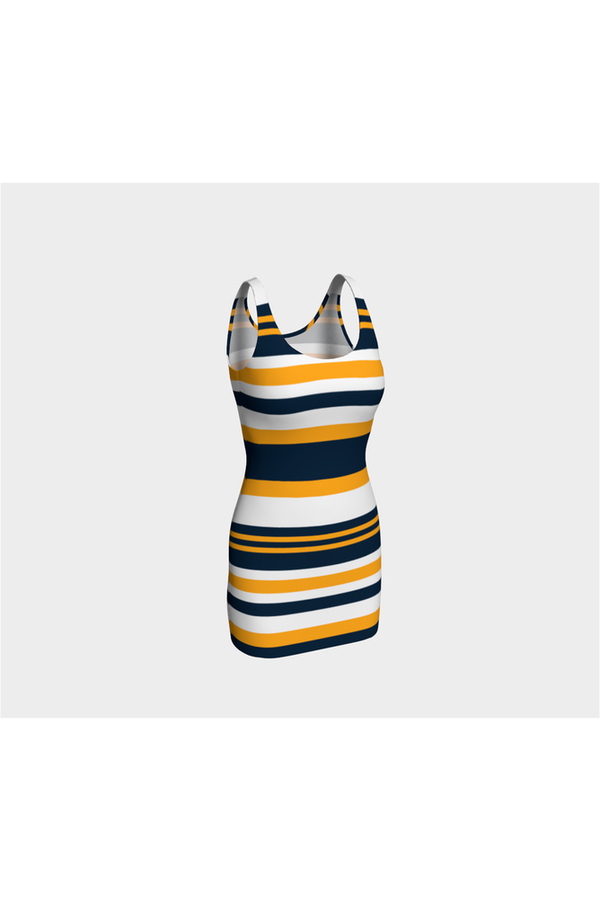 Goldie Blue Bold Stripes Body con Dress - Objet D'Art Online Retail Store