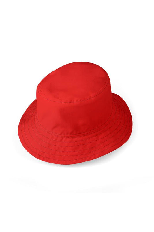 Bright Red Outside & Bookcase Inside Reversible Bucket Hat