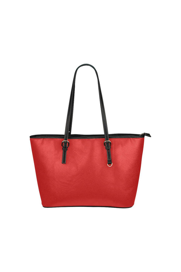 Crimson Red Leather Tote Bag/Small