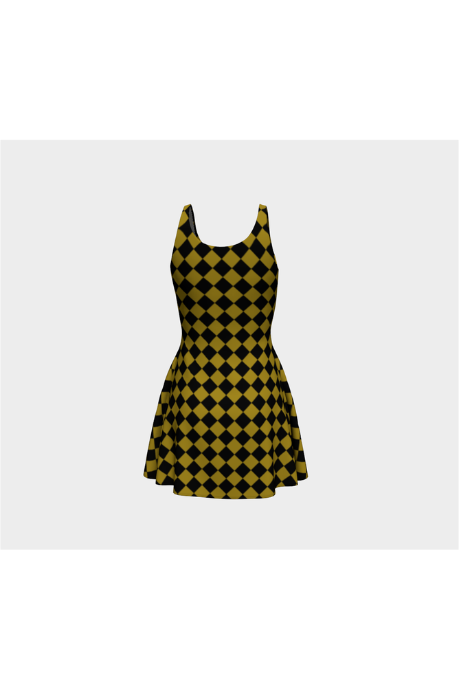 Black and Gold Diamonds Flare Dress - Objet D'Art Online Retail Store