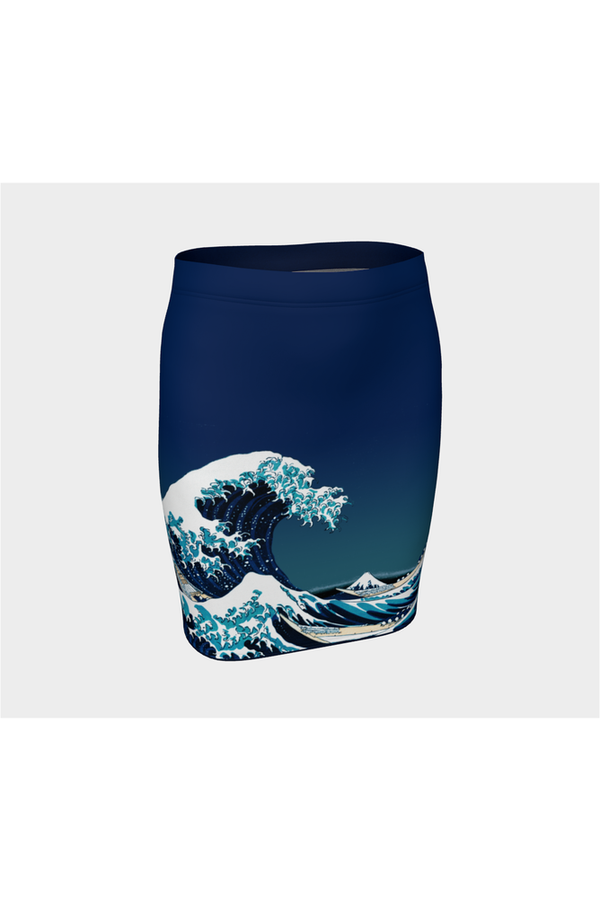 Great Wave Off Kanagawa Fitted Skirt
