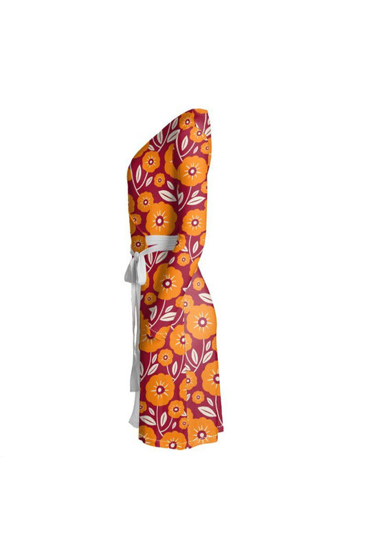 Turmeric Floral Wrap Dress