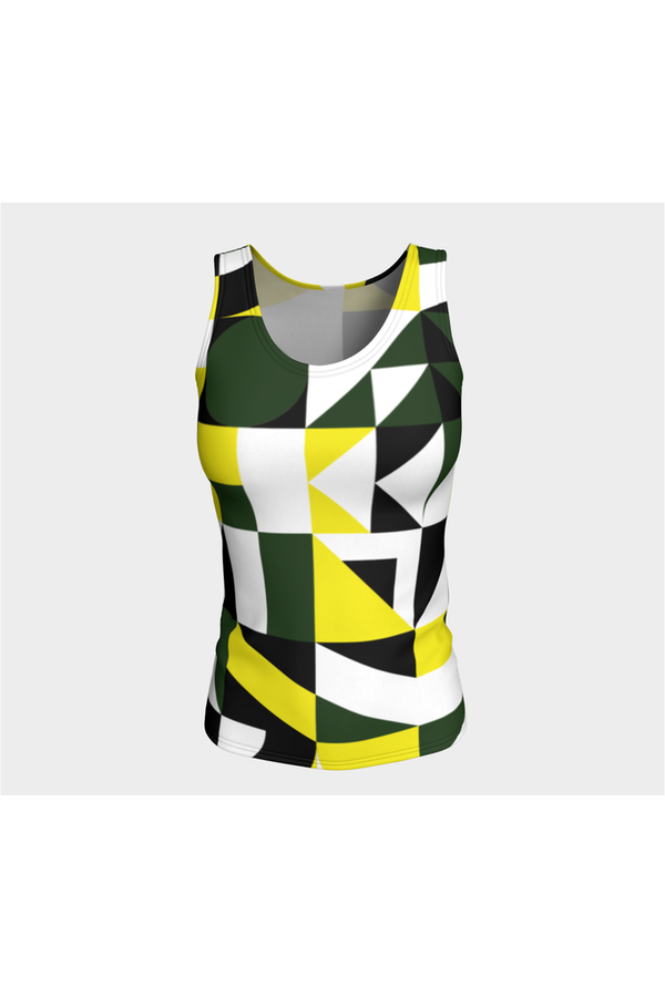 Green Abstract Fitted Tank Top