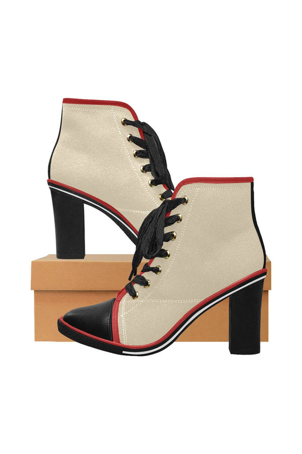 Vanilla Custard Women's Lace Up Chunky Heel Ankle Booties