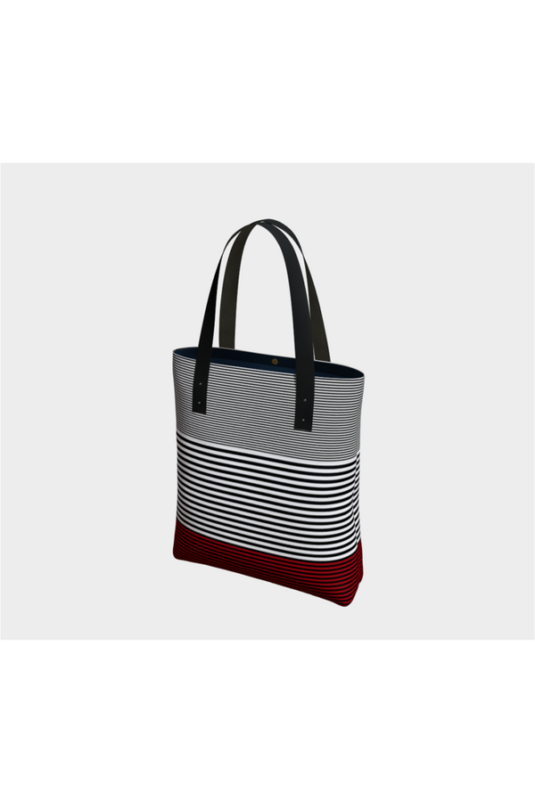 Red Accented Striped Tote Bag