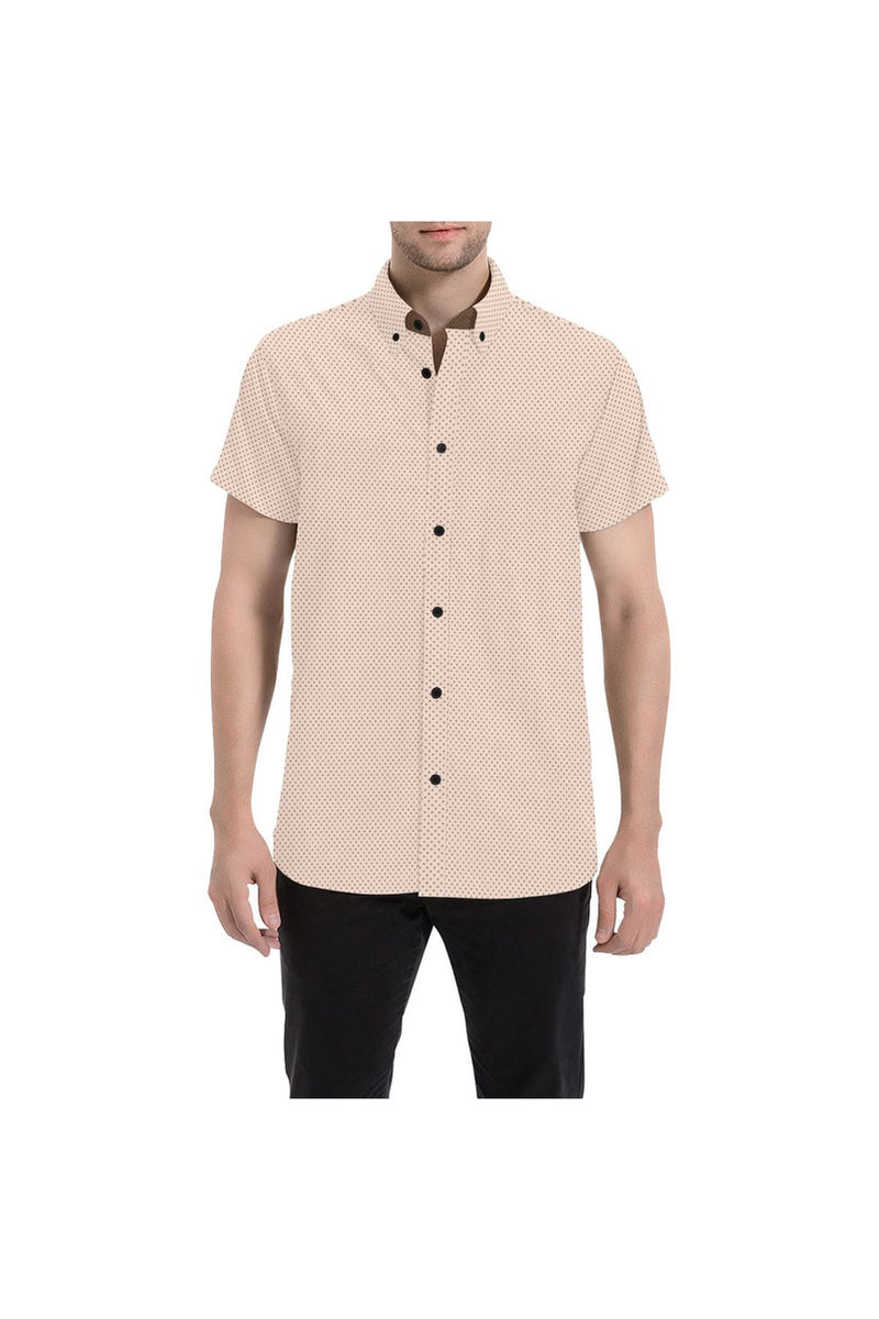Beige Polka Dot Men's All Over Print Short Sleeve Shirt - Objet D'Art Online Retail Store