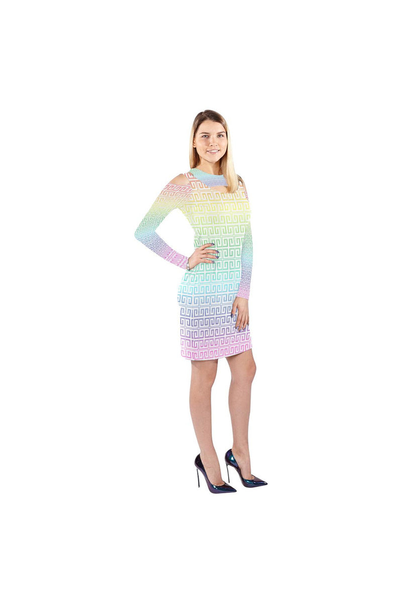 Greek Key Rainbow Cold Shoulder Long Sleeve Dress (Model D37) - Objet D'Art Online Retail Store