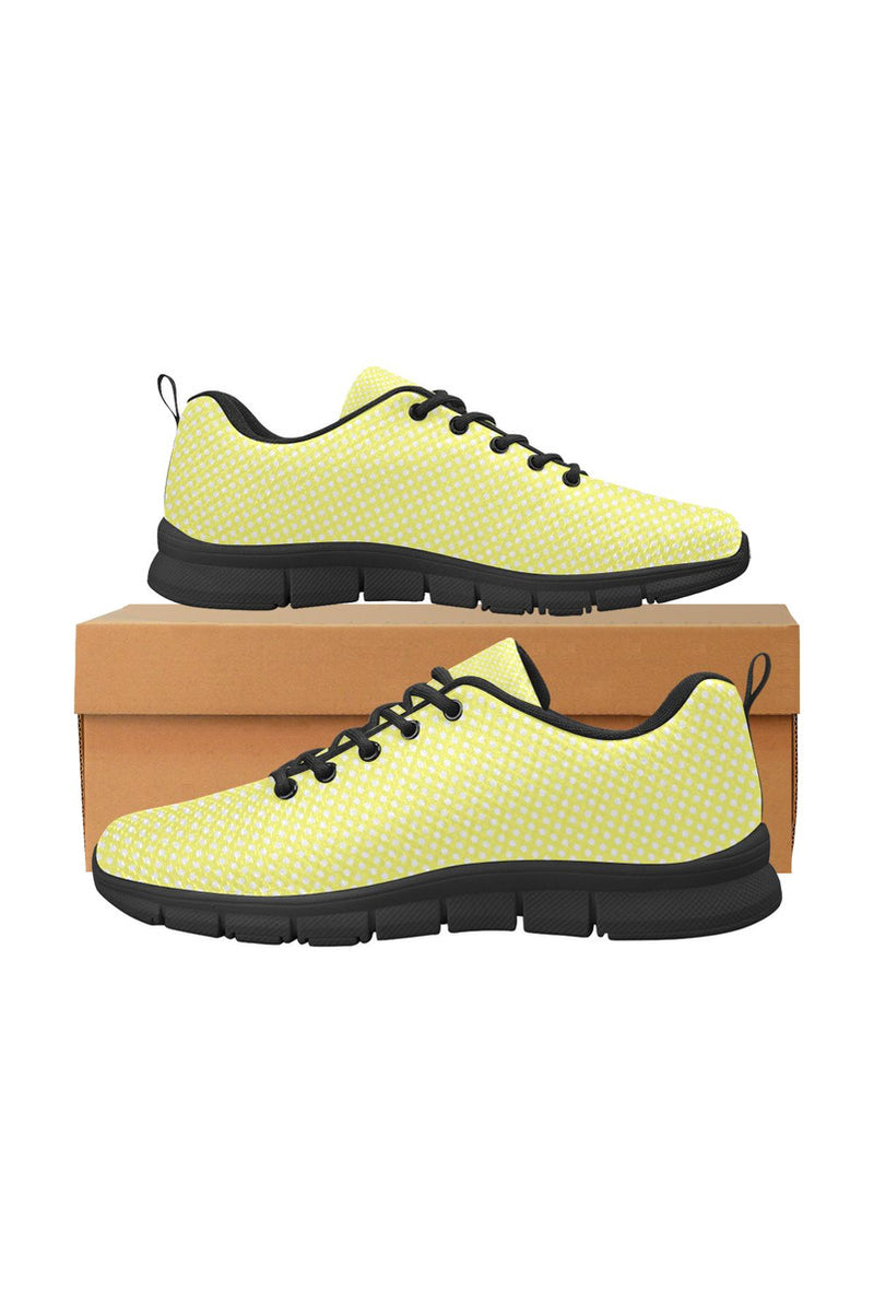 Yellow Polka Dot Women's Breathable Running Shoes