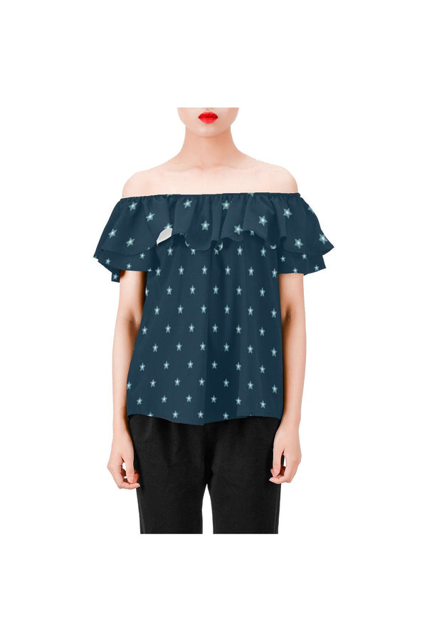 Starry Night Women's Off Shoulder Blouse with Ruffle