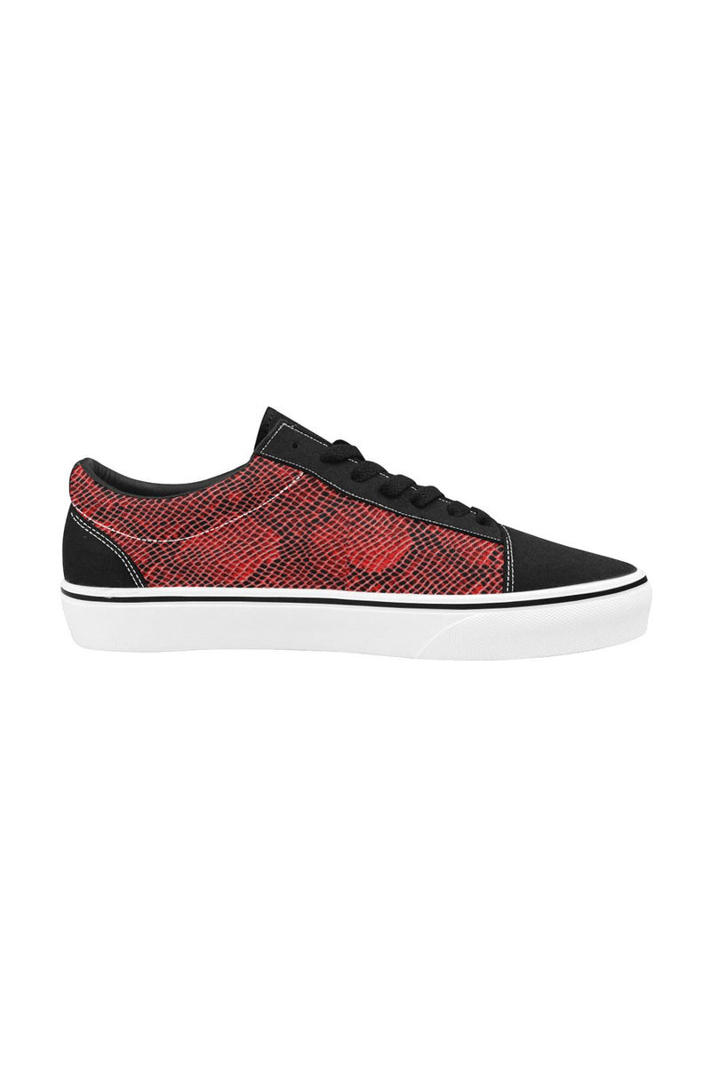Red Snakeskin Women's Low Top Skateboarding Shoes