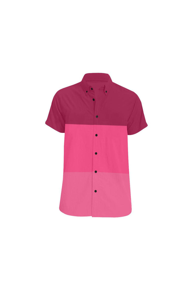 Tri-color in Pink Men's All Over Print Short Sleeve Shirt