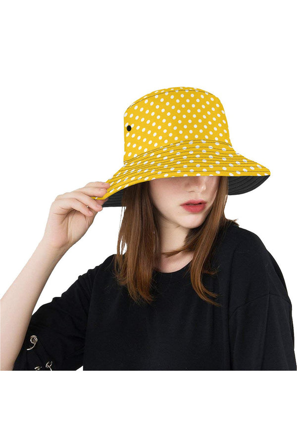 mustard polka dots All Over Print Bucket Hat