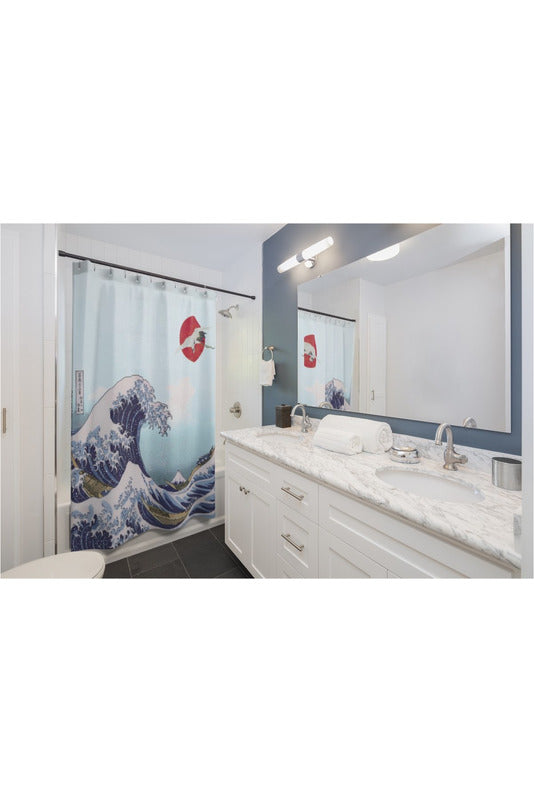 Crane and Great Wave Off Kanagawa Shower Curtains