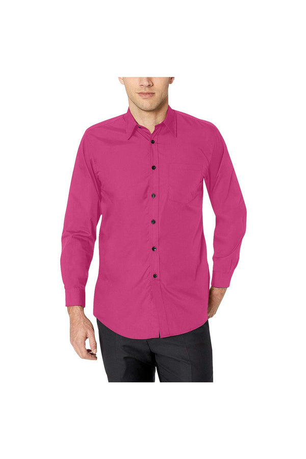 Peacock Pink Men's All Over Print Casual Dress Shirt (Model T61)