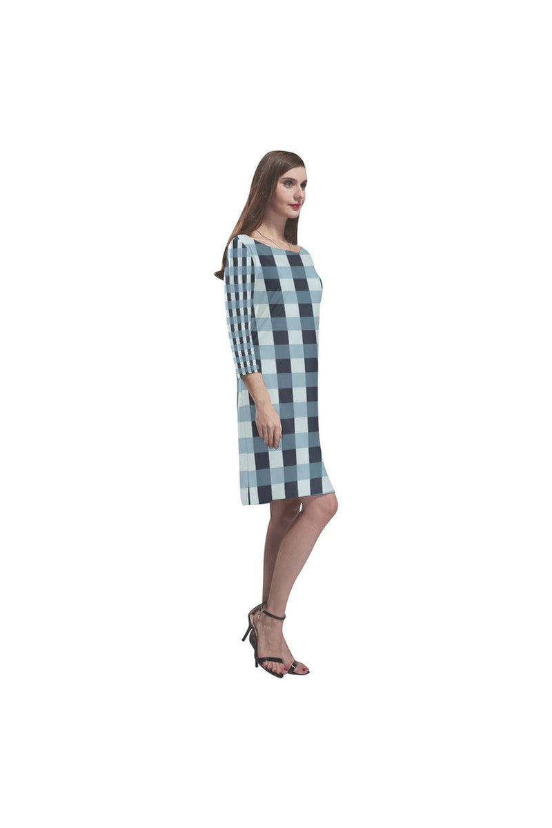 Tartan Turquoise Rhea Loose Round Neck Dress