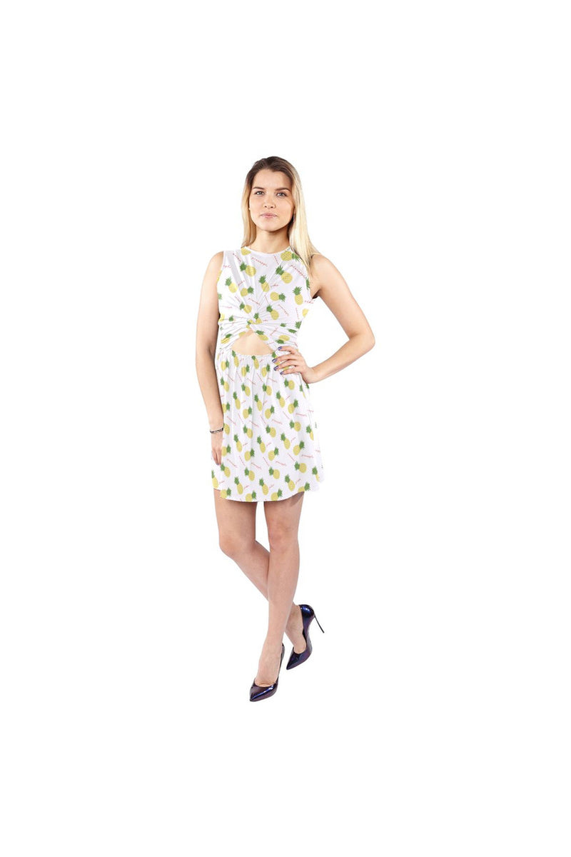 Pineapples on White Sleeveless Cutout Waist Knotted Dress