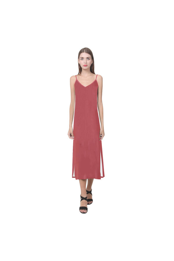 coral orange V-Neck Open Fork Long Dress(Model D18)