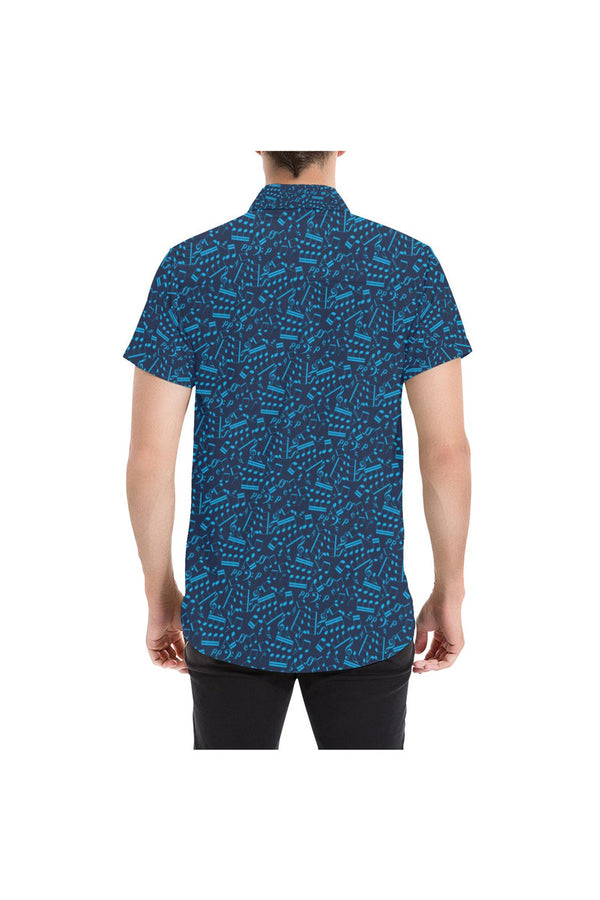 Musical Notes Large Men's All Over Print Short Sleeve Shirt/Large Size - Objet D'Art Online Retail Store
