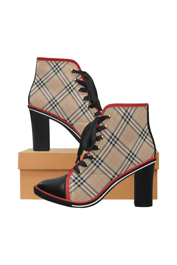 Tan Tartan Women's Lace Up Chunky Heel Ankle Booties (Model 054)