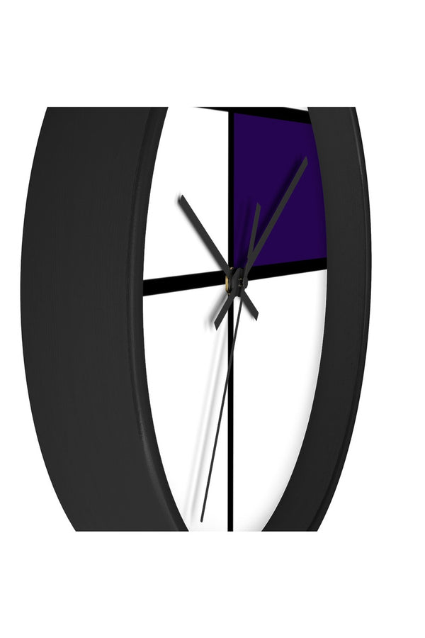 Piet Mondrian style design: PURPLE Wall clock