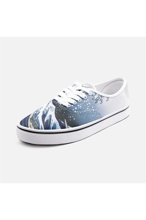 The Great Wave Off Kanagawa by Hokusai Unisex Canvas Shoes Fashion Low Cut Loafer Sneakers