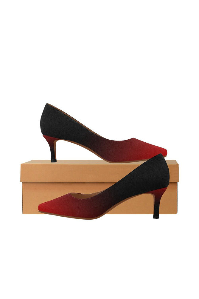 Fade Red to Black Women's Pointed Toe Low Heel Pumps - Objet D'Art Online Retail Store