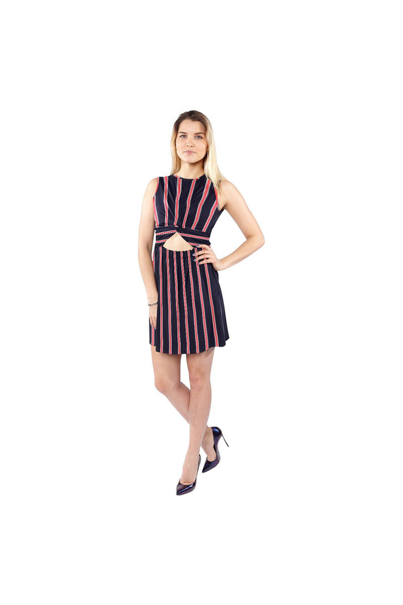 Blue and Orange Stripe Sleeveless Cutout Waist Knotted Dress - Objet D'Art Online Retail Store