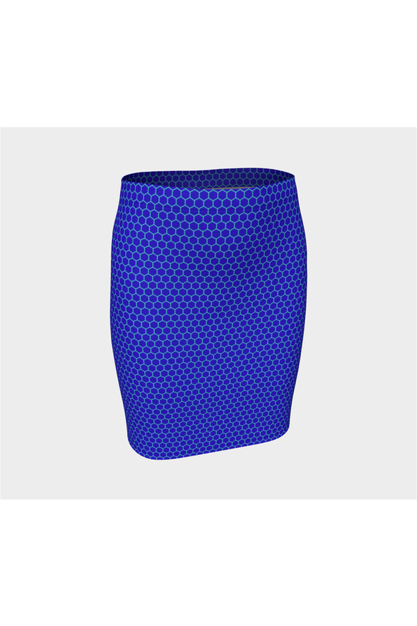 Honeycomb Blue Fitted Skirt