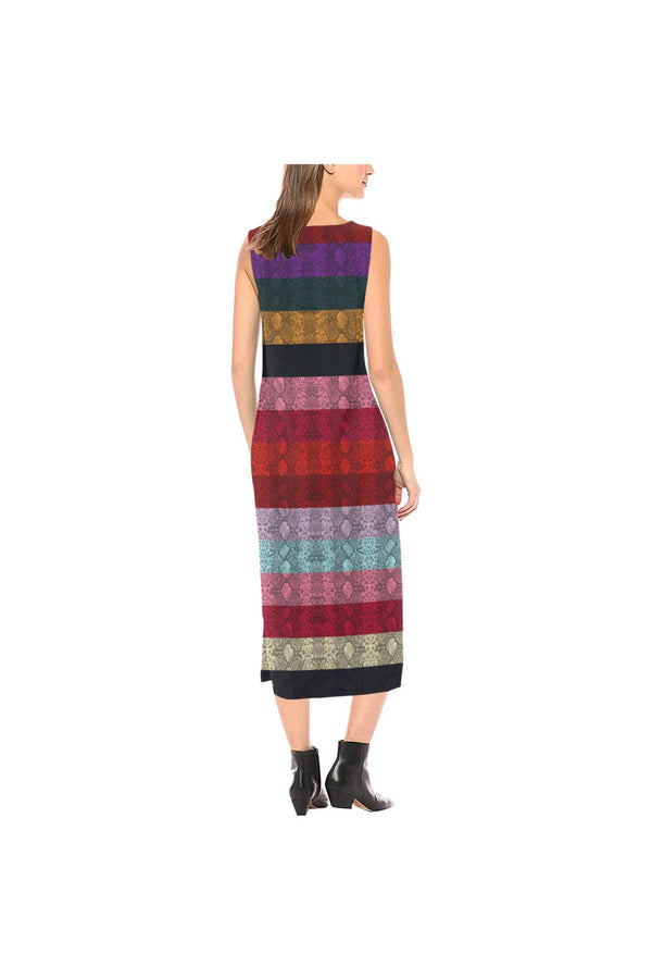 Rainbow Snakeskin Print Sleeveless Open Fork Long Dress