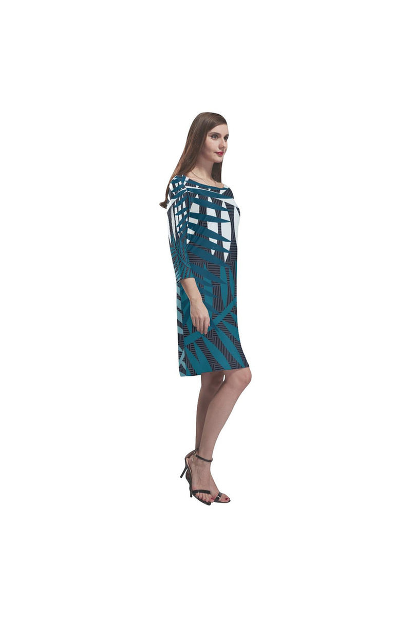 Palm Leaves Under Moonlight Rhea Loose Round Neck Dress - Objet D'Art Online Retail Store