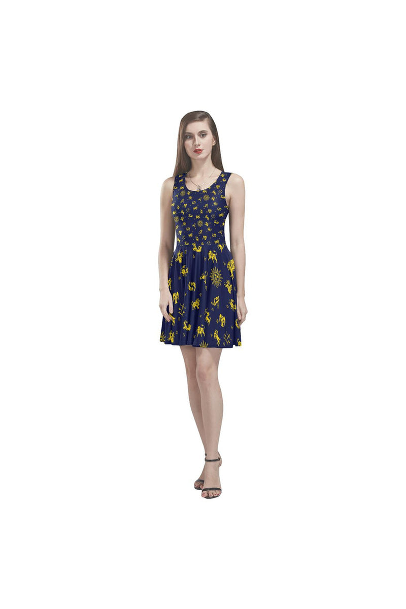 Zodiac Blue & Gold Thea Sleeveless Skater Dress - Objet D'Art Online Retail Store