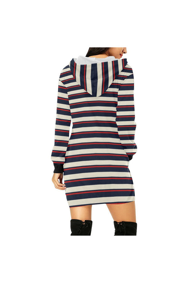 striped tunic hood All Over Print Hoodie Mini Dress (Model H27)