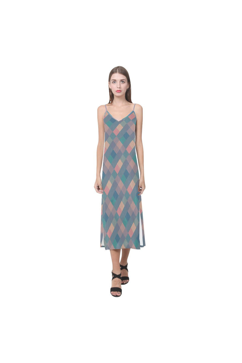 Pastel Pixels V-Neck Open Fork Long Dress - Objet D'Art Online Retail Store
